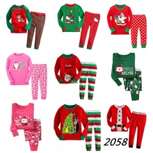 Новинка; для маленьких девочек и мальчиков, ночное белье, Санта Клаус Ночная одежда с оленем Пижама комплекты Детская осенне-зимняя одежда с рождественским мотивом LP039