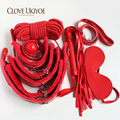 Sex Bondage Kit PU 7pcs/set Role Play Faux Leather Fetish Restraint Mask Ball Gag HandCuffs Adult Games Erotic Toys for Couples