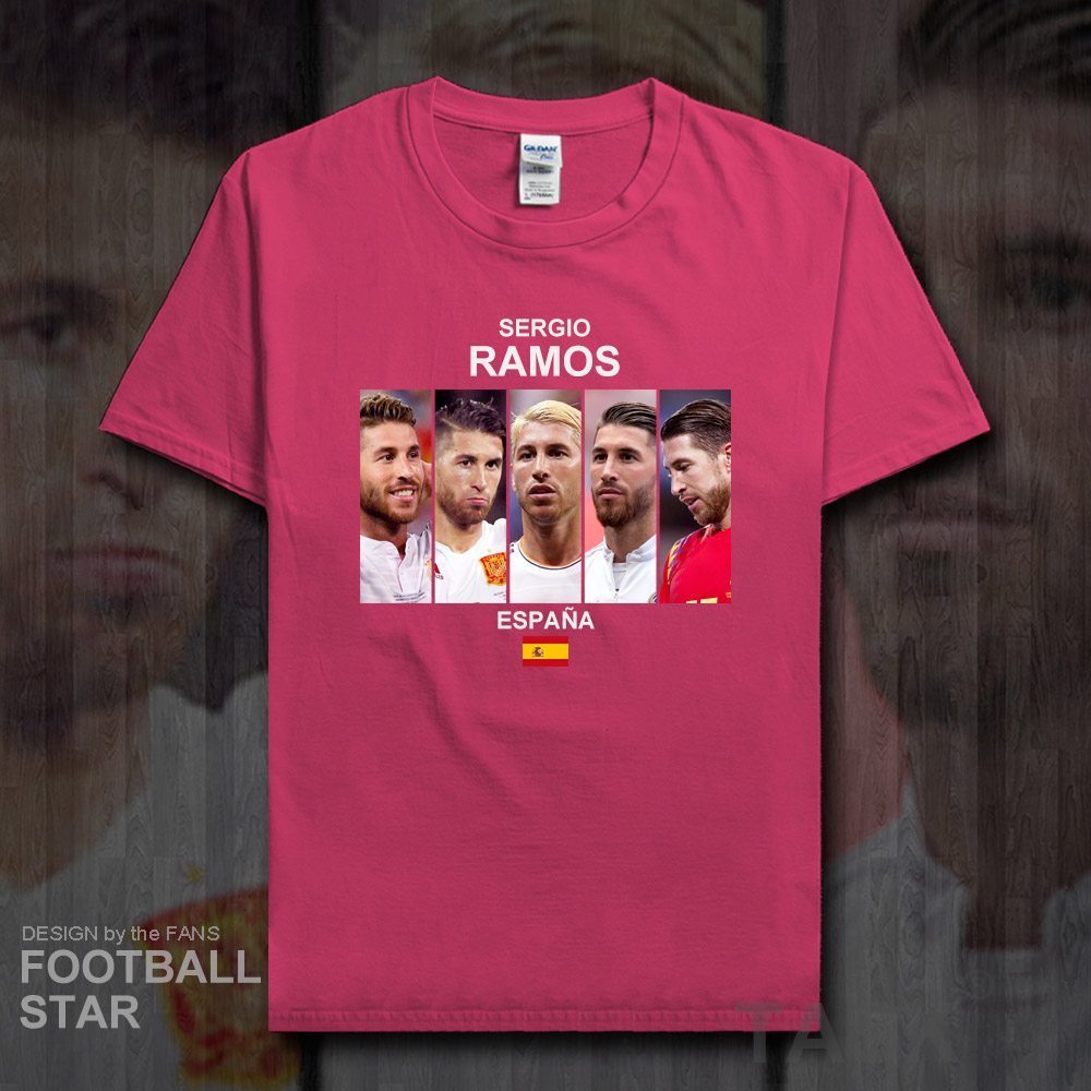 huge selection of 4b346 503e0 US $5.99 |Sergio Ramos t shirt men jerseys Spain footballer star tshirt  cotton fitness The fans printed t shirt clothes summer tees new 20-in  T-Shirts ...