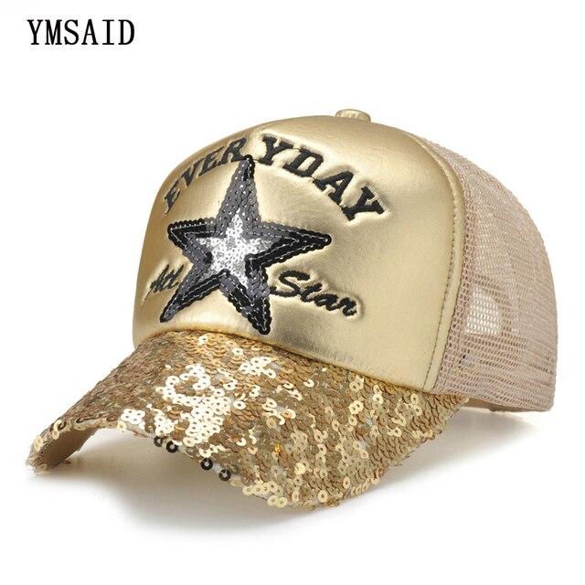 496429c4ca0cf 2018 Corea niños Hip Hop gorra de béisbol estrella de cinco puntas de  verano lentejuelas embroma