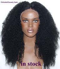 Envío de la alta Calidad de fibra resistente al calor enrollamiento Afro rizado peluca Sintética rizada peluca delantera del cordón para Las Mujeres Negras
