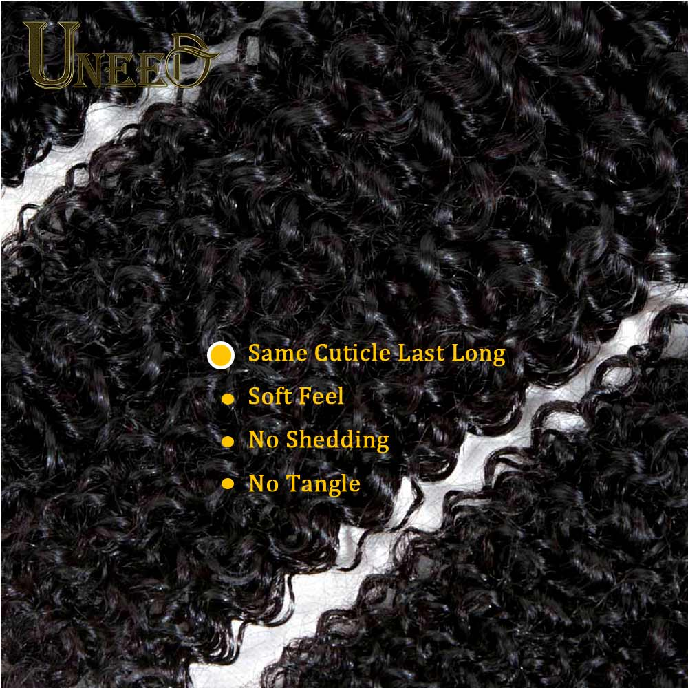 Uneed Malaysian Deep Curly Pre Plucked 13x4 Lace Frontal Closure With Bundles Remy Curly Hair 3Bundles Hman Hair With Closure