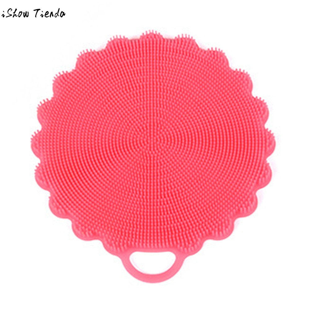 Silicone Dish Washing Sponge Scrubber Kitchen Cleaning antibacterial Cooking Tool Cleaner Sponges Scouring Pads Kitchen Accessor