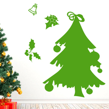 new green christmas tree bell wall stickers for kids rooms glass window home decor happy year decals vinyl mural art