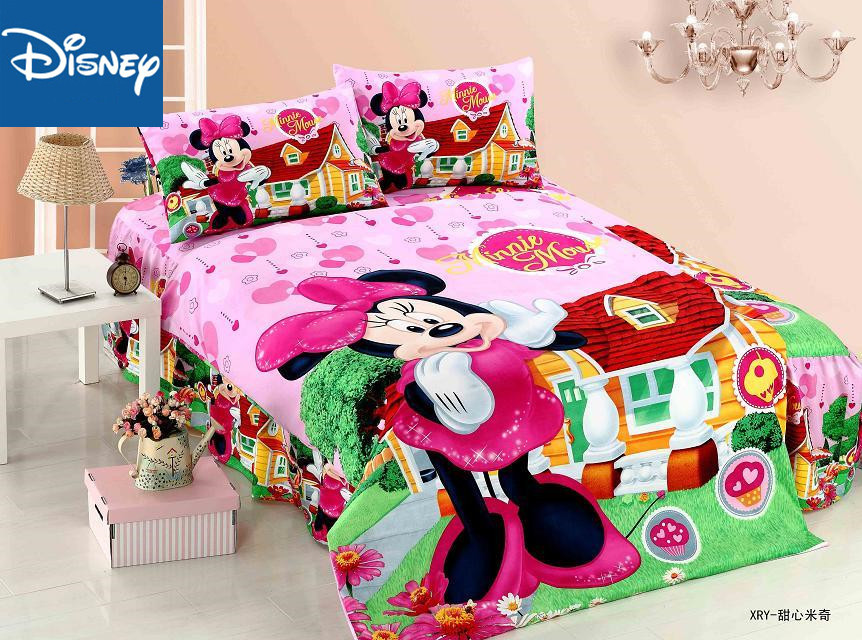 US $22.08 40% OFF|Disney Minnie mouse bedding set for girls bedroom decor  twin size duvet covers single bedspread flat sheet 2 4 pcs free shipping-in  ...