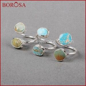Image 3 - BOROSA 5/10PCS Vintage 100% טבעי כחול אבן טבעת, כסף צבע טבעי טורקיז טבעות מתכוונן טבעות Druzy תכשיטי S0183
