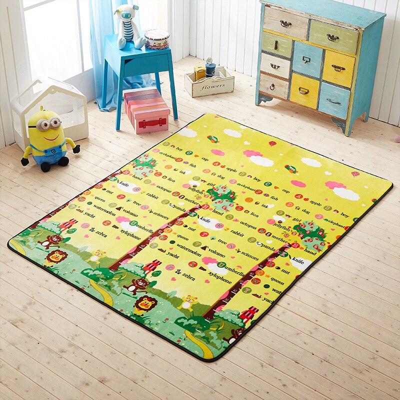 Bande dessinée salon chambre décoratif tapis zone tapis salle de bain plancher porte Yoga bébé ramper enfants jouer mots tapis de jeu jaune