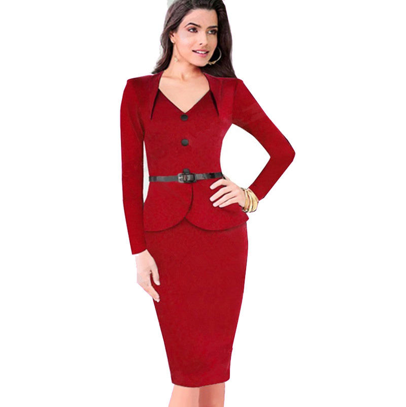 2016 Autumn Winter Womens Fake Two Dress Long Sleeve Peplum Wear To Work Business Casual Office ...