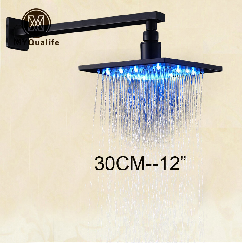 Luxury LED Color Changing 12 Square Rainfall Shower Head with Brass Wall Mount Shower Arm Oil Rubbed Bronze luxury led color changing 12 square rainfall shower head with brass wall mount shower arm oil rubbed bronze