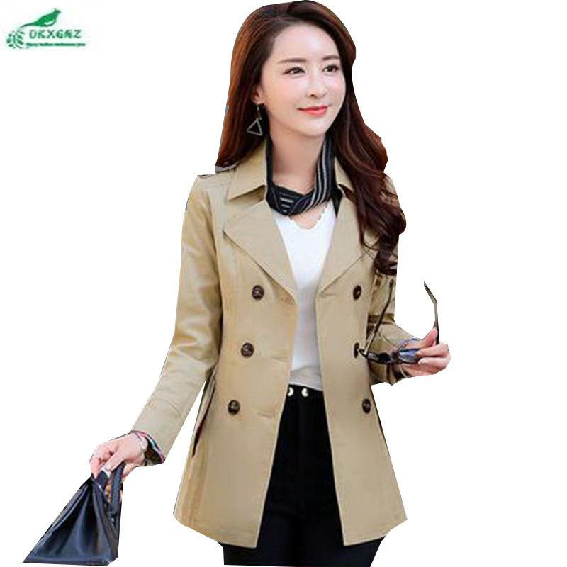 OKZGNZ Windbreaker Medium Changchun autumn Dress coat 2019 New Fashion Big Yards Slim   Trench   Coat Leisure Double-breasted QQ115