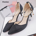 Famiao 2017 New Fashion String bead high heels women pumps thin heel Elegant Sweet cut outs sexy prom wedding shoes