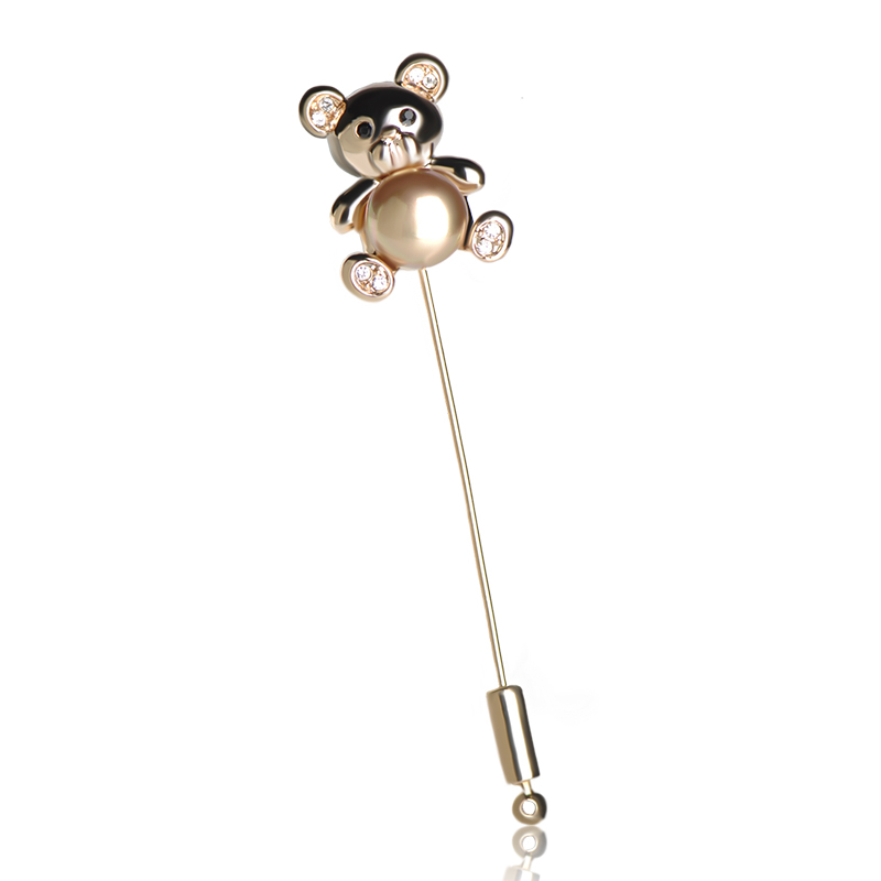 Animal Bear Lapel Pins For Suit Dress Shirt Collar Rhinestone Brooch For Women Cute Pearl Beads Brooches Scarves Clip Pin Bijoux brooch pins pink flamingo brooches for women love cute gift enamel lapel pin broche broches 2018 fashion jewelry accessories