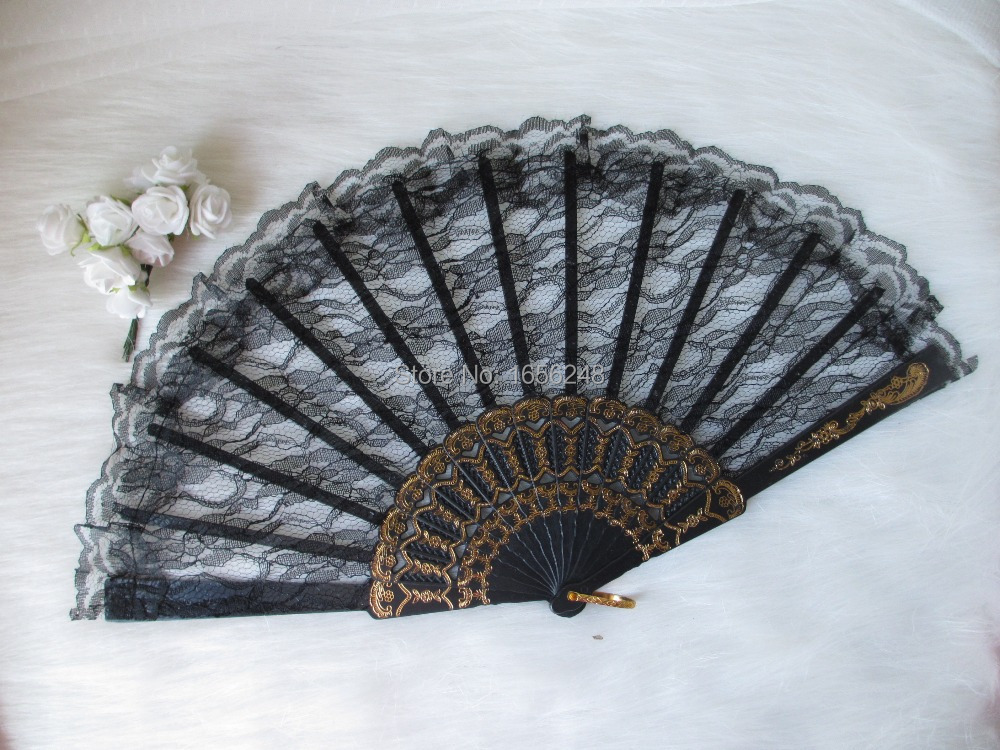 24pcs lot Wedding Decoration Classic Black Color Chinese Folding Lace Dancing Fans Hand Fans Party Gifts