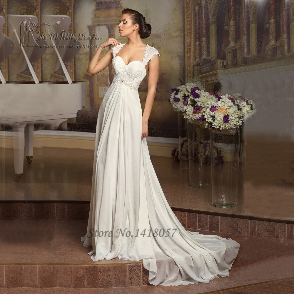24e43da982 Simple Cheap Beach Wedding Dress Lace Chiffon A Line Bridal Dresses Cap  Sleeve Corset Back Plus Size Vestido de Noiva 2016