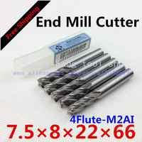 Free shipping 5/bag New 4flute M2AI dia 7.5mm end mill cutter machine tool CNC die  Super-hard high speed steel 4F7.5*8*22*66