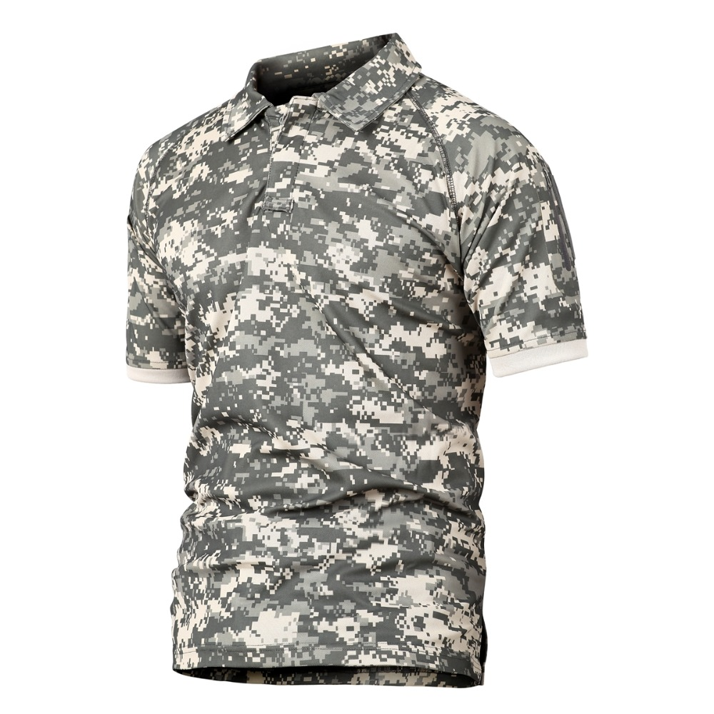 77City Killer Summer Tactical Military Polo Shirt Men Army Camo Polo Shirt Man's Breathable Quick Drying Arm Pocket Polo Shirts