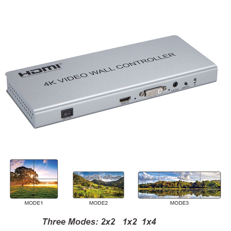 New 2X2 4K Video Wall Controller Switch Splitter HDMI DVI TV Processor support  three models 2x2  1x2 1x4 display with RS232