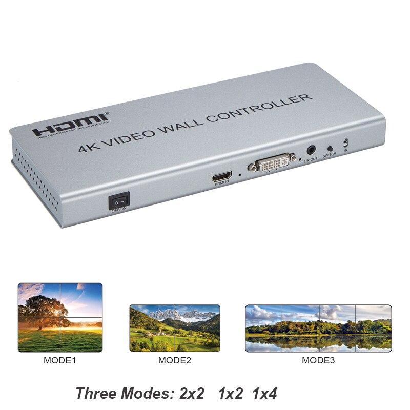 Nouveau 2X2 4 K vidéo mur contrôleur commutateur séparateur HDMI DVI TV processeur prise en charge trois modèles 2x2 1x2 1x4 affichage avec RS232