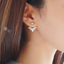 Promotion 925 pure sterling silver earring anti-allergic sweet flower crystal neckband CZ zircon stud earrings elegant Women(China)