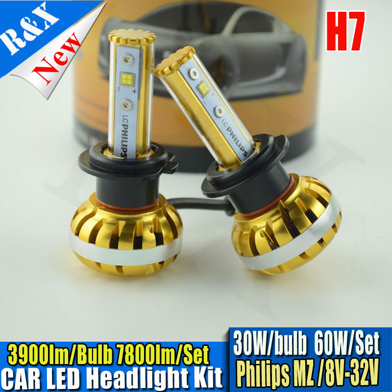 Led H7 30W 3900LM P hilips LED Car Headlight Canbus Kit 3000K 6000K 10000K Replace Halogen Xenon HID Headlamp Light Source