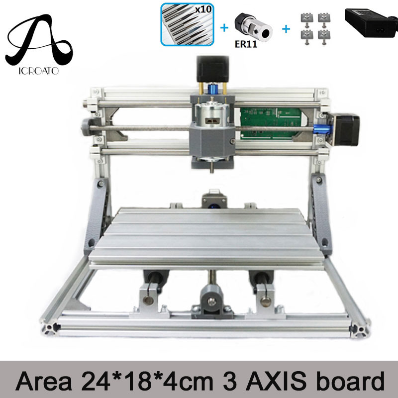 Free Shipping ICROATO Wood Router Engraver 3Axis PCB PVC Milling machine CNC 2418 GRBL control Diy CNC machine