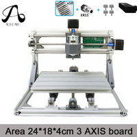 Free Shipping ICROATO Wood Router Engraver 3Axis PCB PVC Milling Machine CNC 2418 GRBL Control Diy