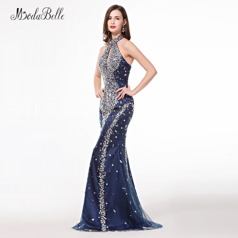 modabelle African Navy Blue Trumpet Mermaid Prom Dresses With Stones  Sparkle High Neck Crystal Bling Evening Dress 2018-in Prom Dresses from  Weddings ... de3b8077e7a9