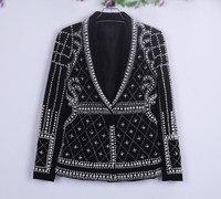 Ночной клуб бар женский рэпер певица хост Новинка Overbearing жемчуг черный куртки костюм для женщин сценическое шоу крутая одежда наряд