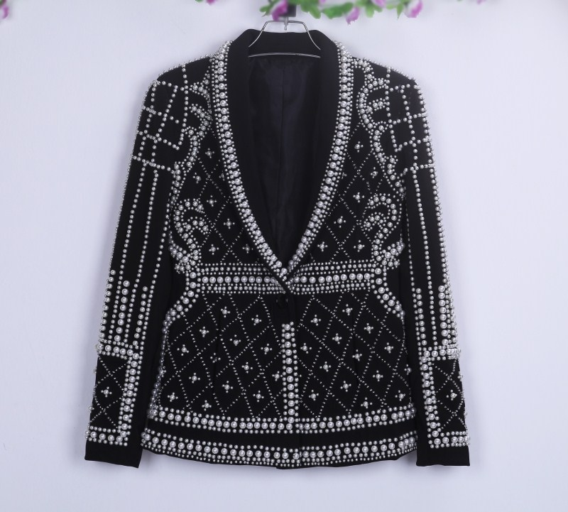 Nightclub Bar Female Rapper Singer Host Novelty Overbearing Pearls Black Jackets Costume Women Stage Show Cool Clothing Outfit 2019 Official