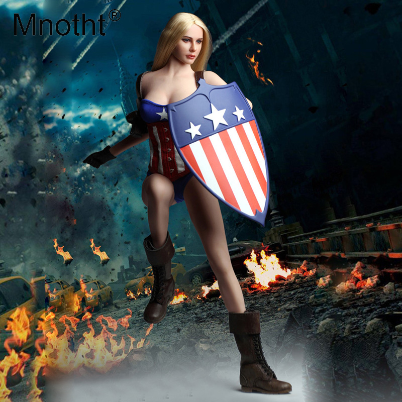 Mnotht 1/6 Scale Captain America Sexy Clothes Suit C019 Female Soldier Clothing &basque Corset/shield/gloves Hand/boots/jumpsuit Toys & Hobbies