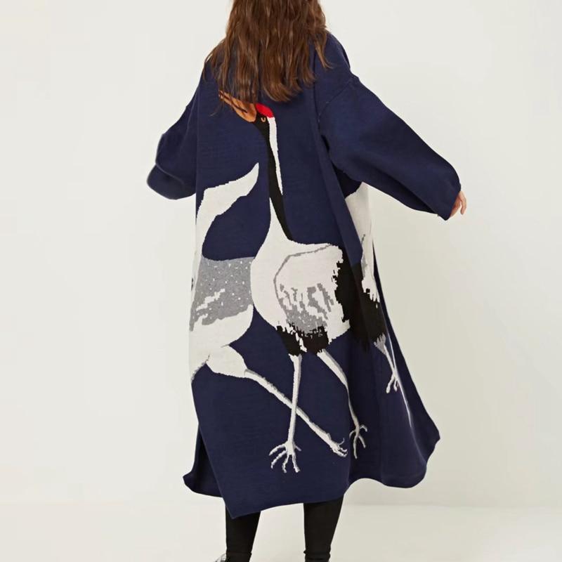 TWOTWINSTYLE Cigogne Femelle de Cardigan Chandail pour les Femmes D'hiver Jumper Manteau Femelle Kimono Vintage Tricoté Longue Tranchée Coupe-Vent - 3