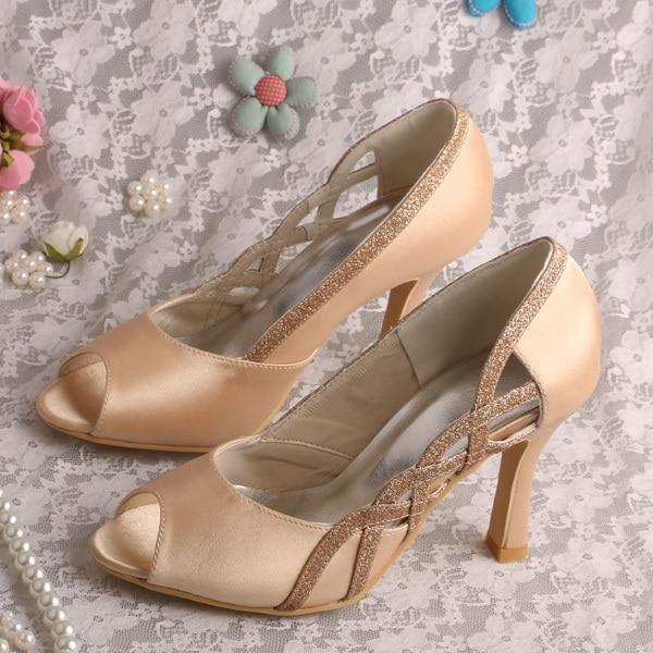 último diseño imágenes oficiales rebajas(mk) Color Champagne peep Toe Bombas Tacones Altos Zapatos de ...