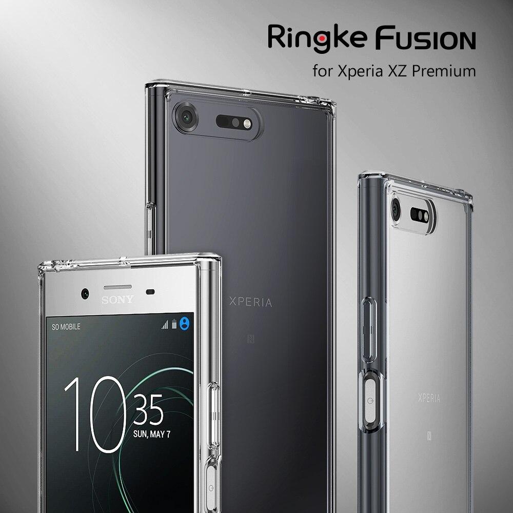 imágenes para Caso para Xperia XZ RINGKE FUSIÓN Premium Trasero Duro Cristalino Resistencia Gota cubierta Fundas para Sony Xperia XZ Premium G8141 G8142