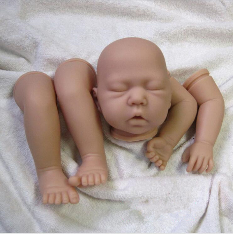 Reborn doll accessories closed eyes silicone reborn baby doll kits suit for 20 inch reborn kits for Reborn doll images