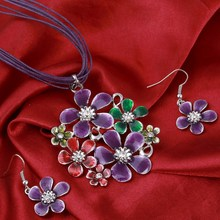 6 Colors Fashion Silver Flower pendant Necklace Earrings Set Multilayer leather Chiffon Ribbon Choker Neckalce jewelry sets