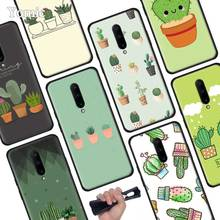 Cute Green Cactus Potted Plant Black Soft Case for Oneplus 7 Pro 7 6T 6 Silicone TPU Phone Cases Cover Coque Shell