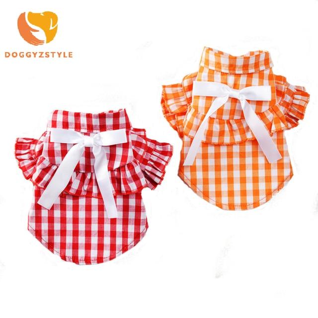 100% algodón perro vestido Plaid Bow camiseta falda para perros pequeños mangas de flores mujeres mascota ropa cachorro ropa accesorios para mascotas