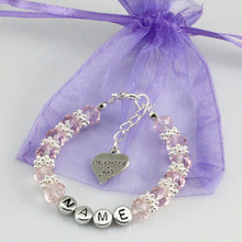 New name Personalised Girl baby Birthday Christmas Gift Charm name Bracelet with bag-pink Glass crystal