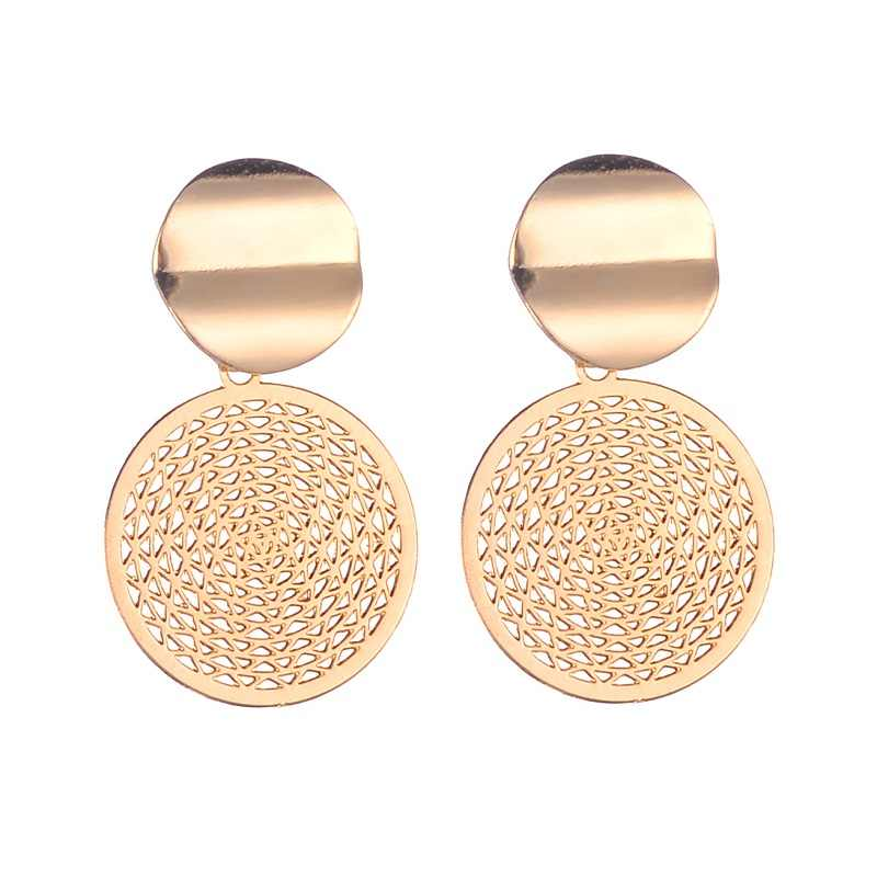 Find Me 2019 new Alloy Drop Earrings for Women Geometric Simple Dangle Fashion Glossy Plated Long Earrings Jewelry Accessories