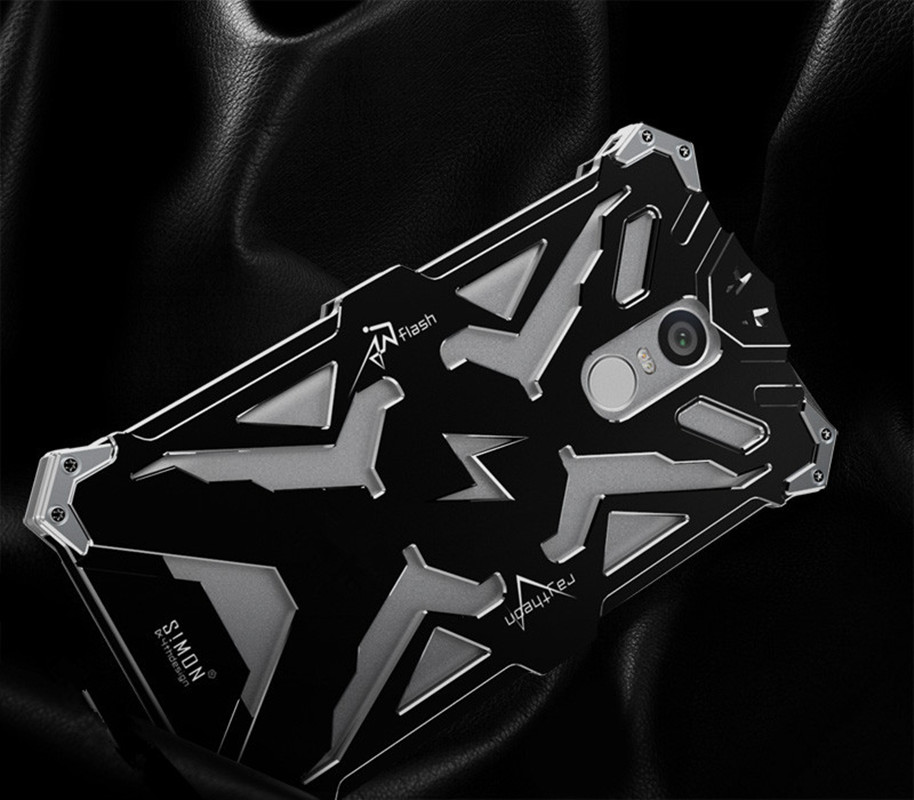 imágenes para 4X Caso Xiaomi Redmi Nota 5.5 pulgadas Zimon THOR IRONMAN Metal Frame Armor Case para Xiaomi Redmi Nota 4 CNC de Aluminio Anodizado cubierta
