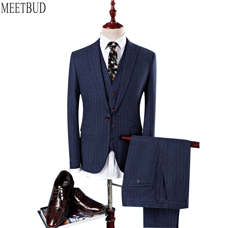 MEETBUD New arrival brand men suit for wedding slim fit party host prom man dark blue suits business casual dress suits