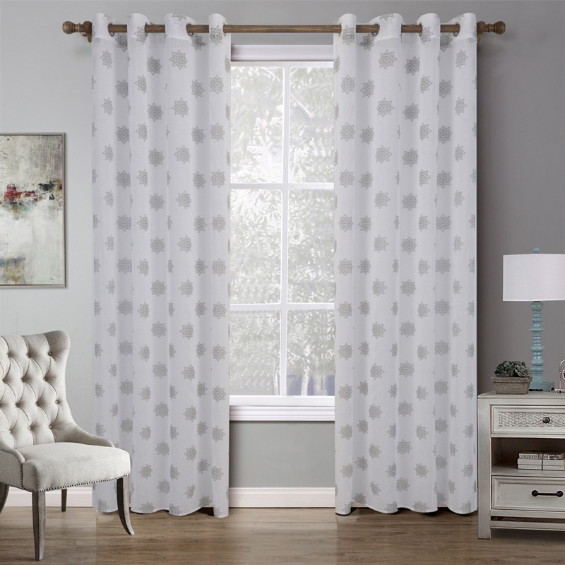 Sunnyrain 1 Piece White Snowflake Printed Translucidus Sheer Curtain For Bedroom D Children Room Customizable In Curtains From Home