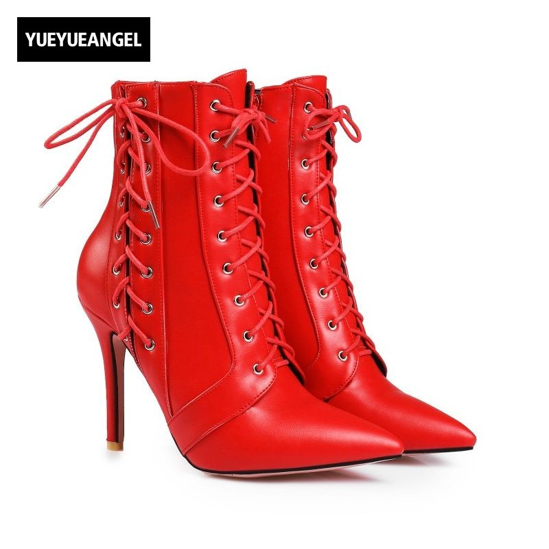 Women Personality Punk Lace Up Stilettos Zip High Heel Womens Ankle Boots Pointed Toe Hip Hop Zapatos Mujer Plus Size US 4-12.5 martins real leather plus velvet british style high heel womens fashion boots winter 2015 lace up pointed toe ankle side zip