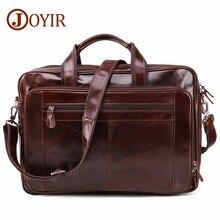 JOYIR Mens Briefcase Genuine Leather Shoulder Bags Travel Laptop Bag Handbags Business Computer