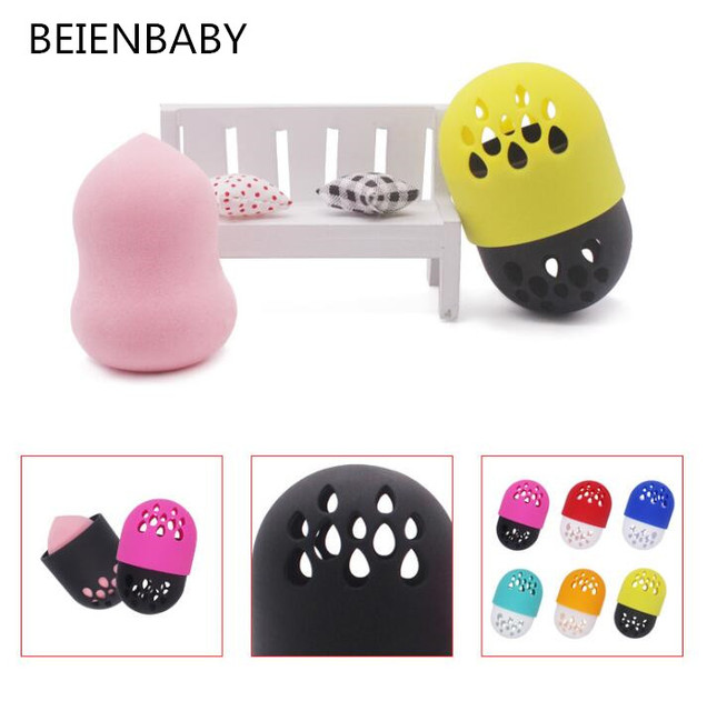 BEIENBABY  Soft Silicone Powder Puff Drying Holder Egg Stand Beauty Pad Sponge Display Rack Cosmetic Puff Holder Make Up Accesso