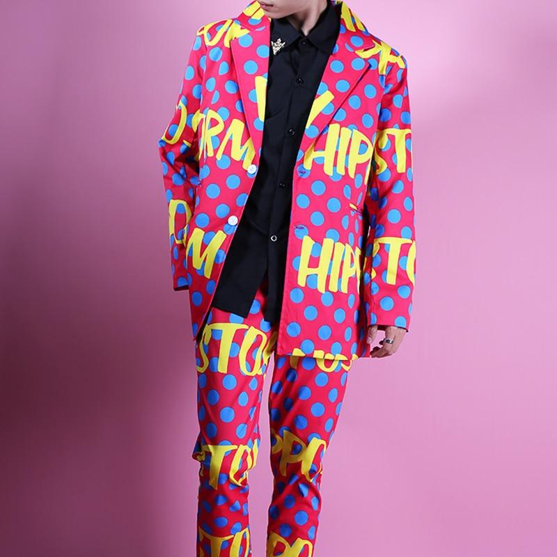 Colour Point Letter Doodle Suit Studio Night Dress Suit Casual Vintage Jacket Male Fashion High Street Hip Hop Blazer Suit Coat