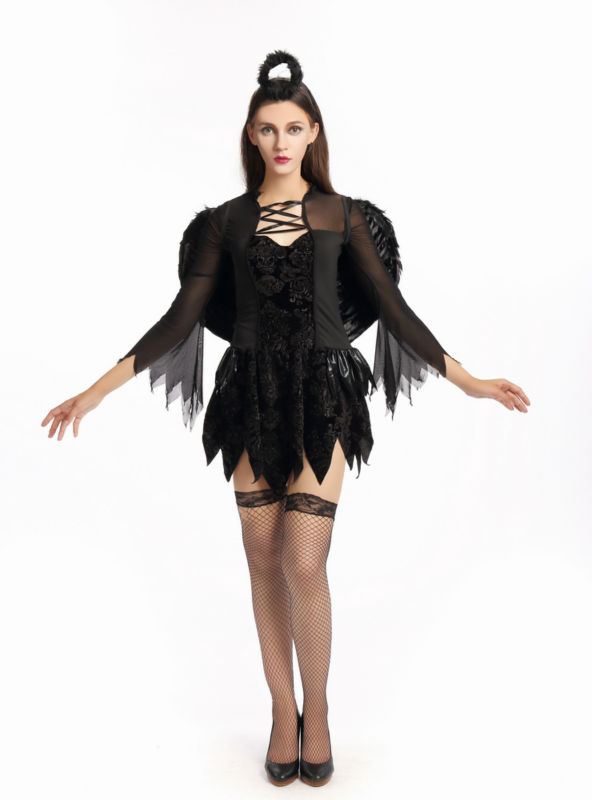 nueva llegada clsicos disfraces de halloween vampire ghost bride party queen angel negro cosplay traje atractivo