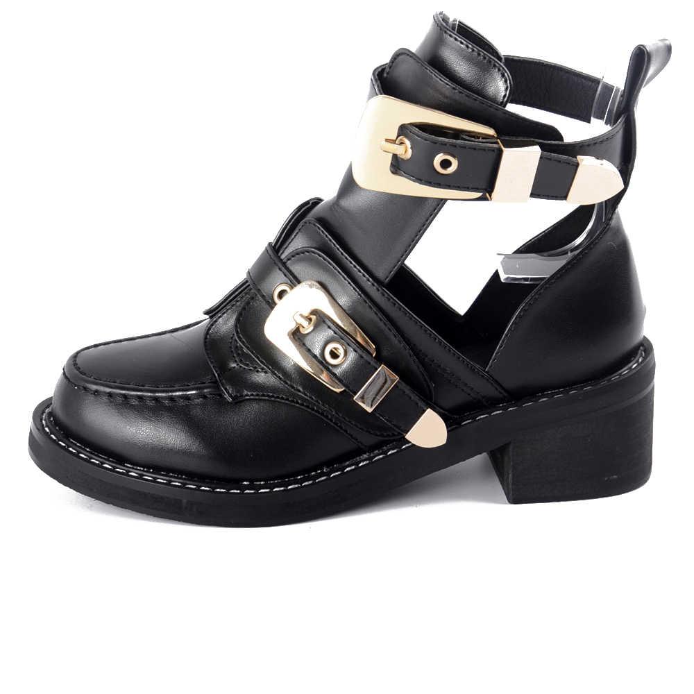 Boyutu 35-40 Yüksek kaliteli Yılan Yaz Çizmeler Kadın Ayak Bileği Pompaları Topuk Toka Içi Boş Deri Kadın Ayakkabı Punk Platformu kadın Pompaları
