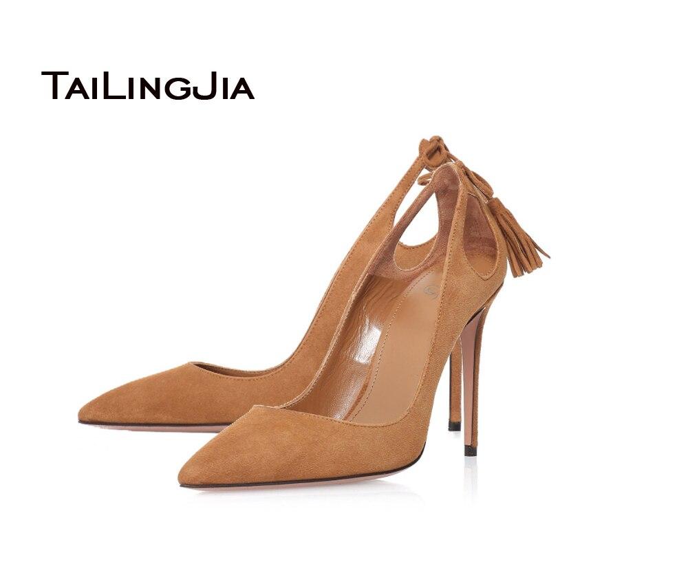 2016 New Sandals font b Women b font High Heels Office Shoes Tassel Decoration Handmande Shoes