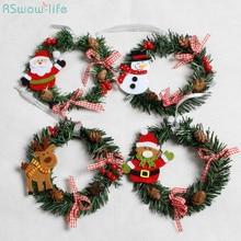 Christmas Ordinary Decoration Small Wreath Snowman Santa PVC Decorations Festival Party Supplies
